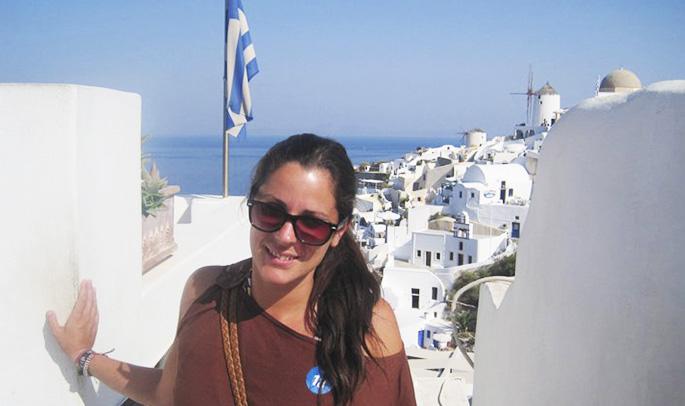 Ana en Santorini