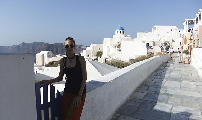 Laura en Santorini