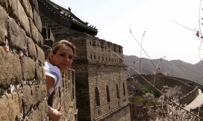 Cristina en la Muralla China