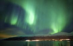 Aurora boreal verde en Noruega