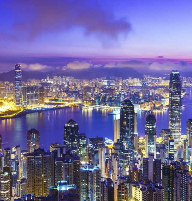 Los rascacielos de Hong Kong en China
