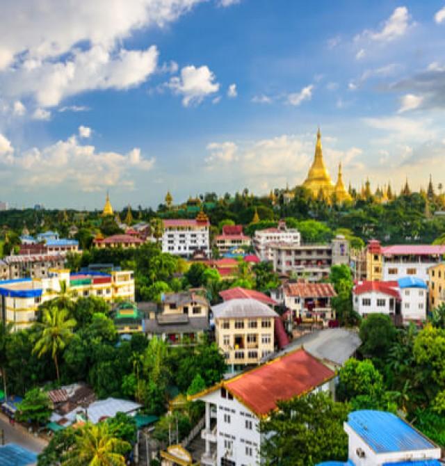 Yangon en Myanmar y Hong Kong