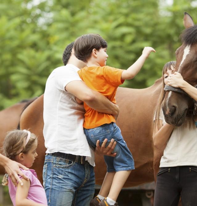 Familia visita cuadras de caballos