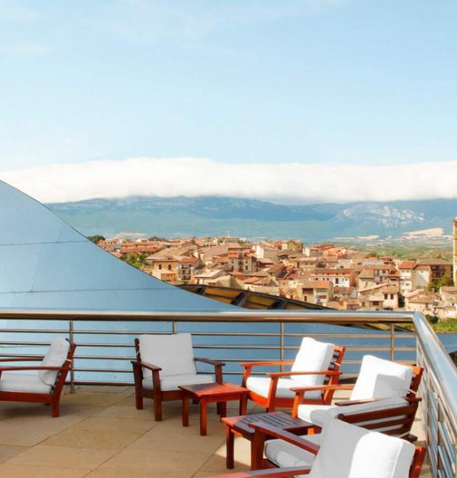 Vistas desde el Hotel Marqués de Riscal en Álava, Elciego